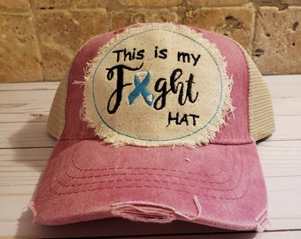 Chemo Headwear, Embroidered Cancer  Ribbon  Fight Baseball Cap, Embroidered Women's Baseball cap,  Gift For Her