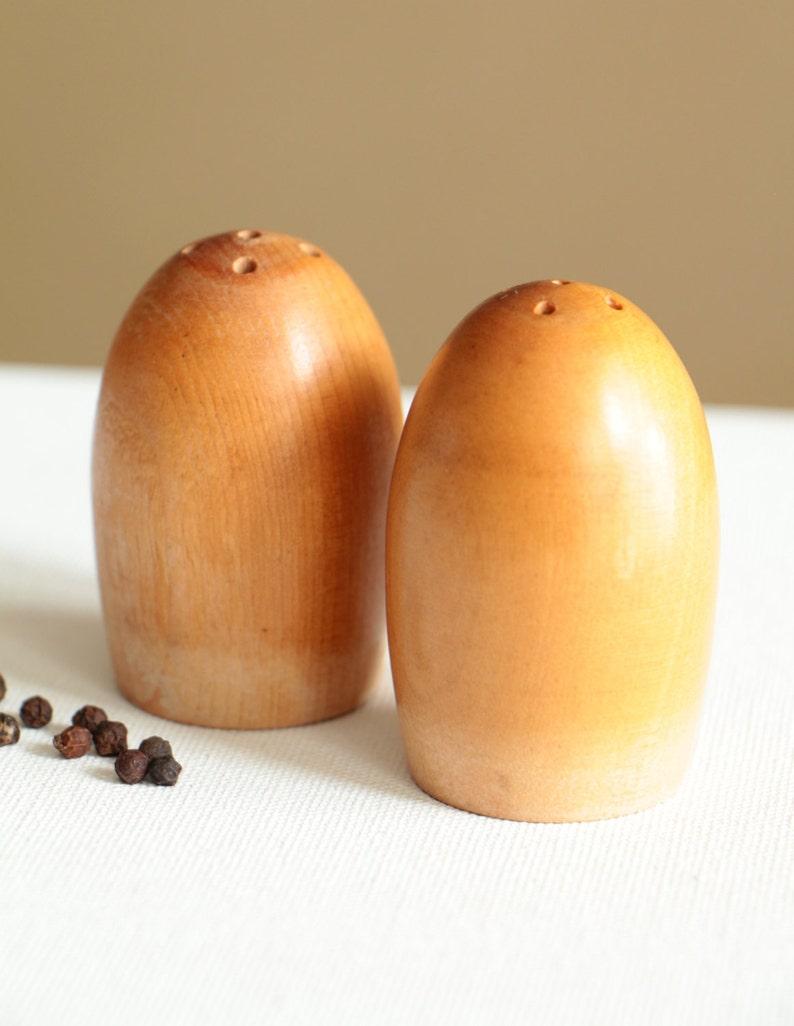 Vintage wood salt and pepper shakers made in Japan  rustic kitchen decor egg shape salt n pepper storage