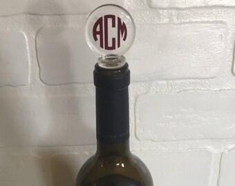 Monogrammed Wine Stopper, Hostess Gift, Personalized Stopper, Bottle Stopper