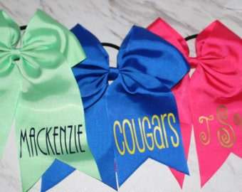 "Personalized 8"" Cheer Hair Bow on Ponytail Elastic"