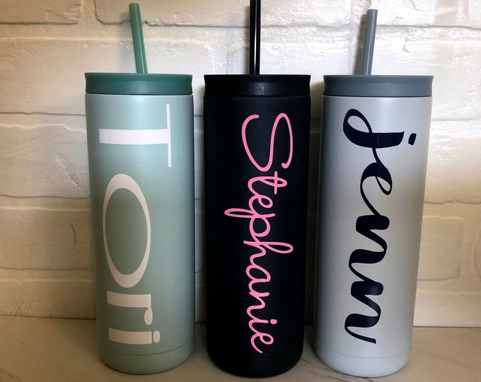 Featured listing image: Personalized Stainless Steel Insulated Maker 20 ounce tumbler, Monogram cup, Double Wall, Bridesmaid