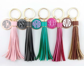 Long Monogram Tassel Keychain, Purse Tassel, Bridesmaid Gift, Car Keys