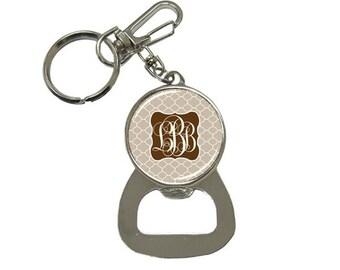 Monogrammed Bottle Opener Key Chain