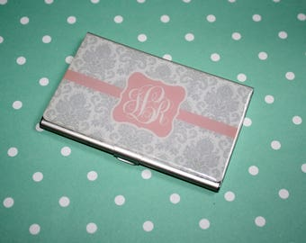 Personalized Business Card Holder, Monogrammed, Monogram,  Boss Lady Gift, Graduation Gift, Custom Design