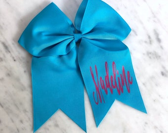 """Monogrammed Bow, 8"""" Cheer Hair Bow on Ponytail Elastic, Personalized Bow, Monogrammed, Cheerleading, Gift"""