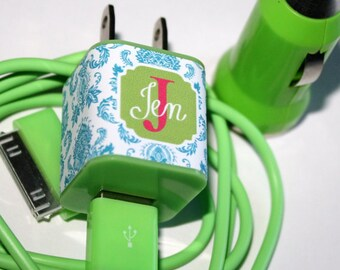 iPhone Charger Decal Full Color, Monogrammed Charger, Monogrammed Brick, Personalized, Graduation Gift