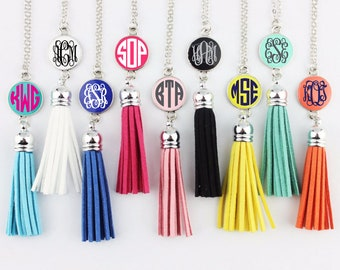 CLOSEOUT-Monogrammed Long Pendant Tassel Necklace