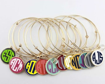 Monogrammed Expandable Charm Bracelet, Personalized Dangle Charm, Closeout Deal