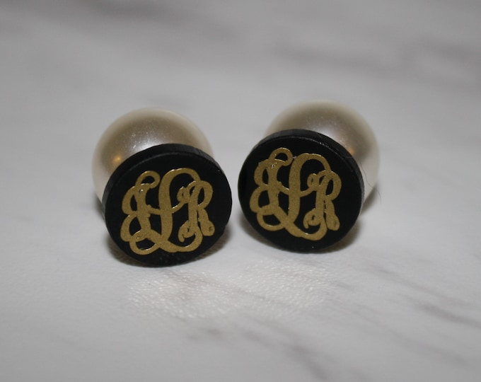 Featured listing image: Monogrammed Pearl Back Earrings
