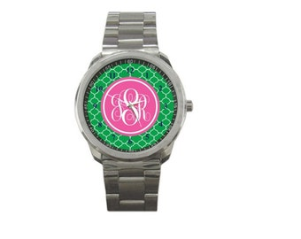 Monogrammed Stainless Watch