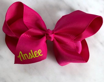 """Monogrammed Bow, 4"""" Hairbow on Clip, Personalized Bow, Monogram, Personalized Bow, Baby Shower Gift"""
