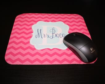 Personalized Mousepad, Monogrammed Mouse Pad, Computer Pad, Teacher Gift, Office, Custom Design