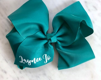 """Monogrammed Bow, 8""""  Hairbow on Clip, Personalized Bow, Monogram, Baby Shower"""