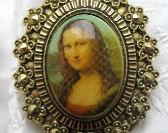 Vintage 1960s GERMANY Mona Lisa Art Lover Scarf Clip