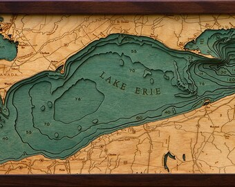 Lake Erie Wood Map Etsy - Lake erie topographic map
