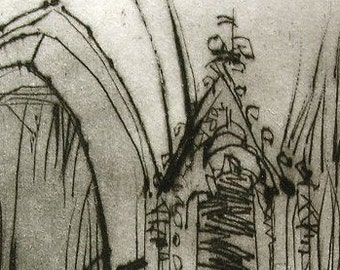Original Drypoint Etching-CHURCH