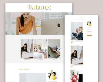 Modern Wordpress Theme, Minimal Website Design, Genesis Child Theme, Elementor Template, Balance Website Branding, Business Website Template