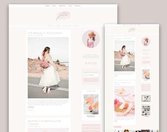 NEW!!! Feminine Wordpress Theme, Genesis Child Theme For Creators, Lifestyle Blogger Jane, Feminine Blog Design, Kelly Brito, Entrepreneur