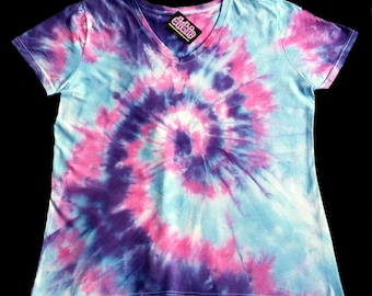 cfa8450c Creamsicle Lady's V Neck Tie Dye Shirt 9 oz