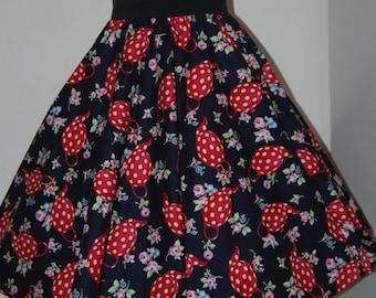 Teapots full circle skirt made to measure swing rockabilly polka dots