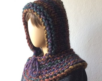 Hood Scarf, Knitted Hood, Hooded Cowl, Woman Hooded Scarf, Hipster Hoodie Scarf, Cowl Scoodie
