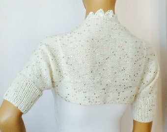 Wedding Shrug, Sequin Shrug, Bridal Bolero, Sequin Evening Shrug