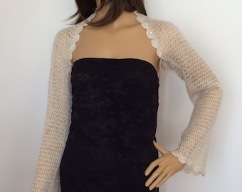 Bridal Shrug, Champagne Shrug, Sheer Shrug, Wedding Bolero, Evening Shrug