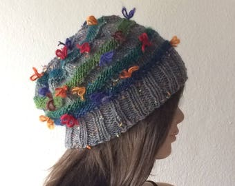 Beanie Women, Knit Hat Women, Slouchy Beanie, Boho Hat, Reversible Hat, Knit Hat, Colorful Hat