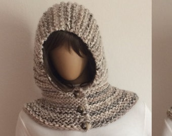 Hooded Scarf, Hooded Cowl, Scoodie, Snood, ChunkyTassel Hat with Buttoned Chunky Cowl,