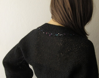 Black Bolero, Evening Shrug, Sheer Sequin Shrug, Black Bolero, Scarf