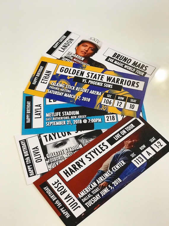 custom printed fake concert ticket sporting event ticket etsy