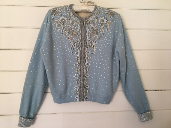 Vintage 1950's Cashmere Heavily Beaded Blue Sweate