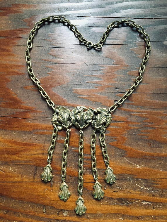 Vintage 30s 40s Art Deco Necklace with Dangles