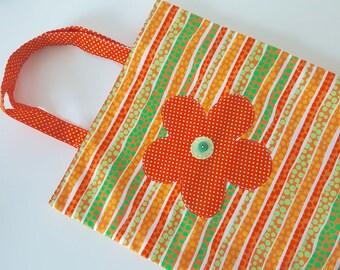unique grocery bag with flower, bag, book bag, tote bag, handmade, orange, dots, reversible