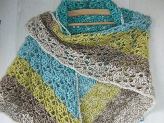 Crocheted Shawl Scarf Shawl Stole Handmade Cotton And Etsy