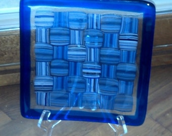Royal Blue Fused Glass Plate with cross hatch pattern