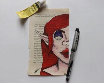 Upcycled book page Jessica Rabbit - Original piece 1311b868ee