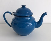 Vintage blue enamel teapot, tea pot for one, stove top metal teapot, French blue enamel, 07210500