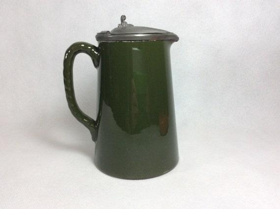 Vintage Jug Vase Art Nouveau 19th Century Green Jug With Etsy