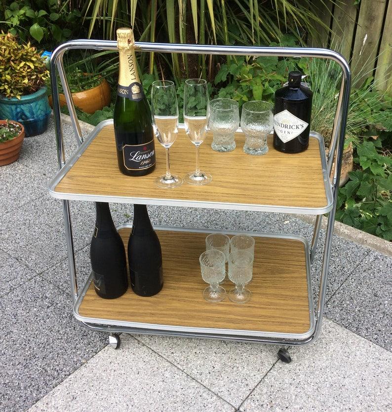 Vintage Bar Cart Drinks Trolley Folding Home Bar Mid Century Etsy