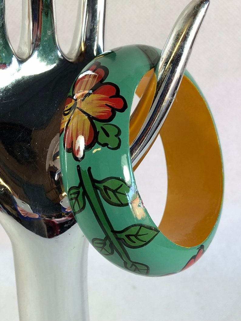 Vintage wooden bracelet turquoise bracelet bangle 03180100 hand painted bangle floral pattern