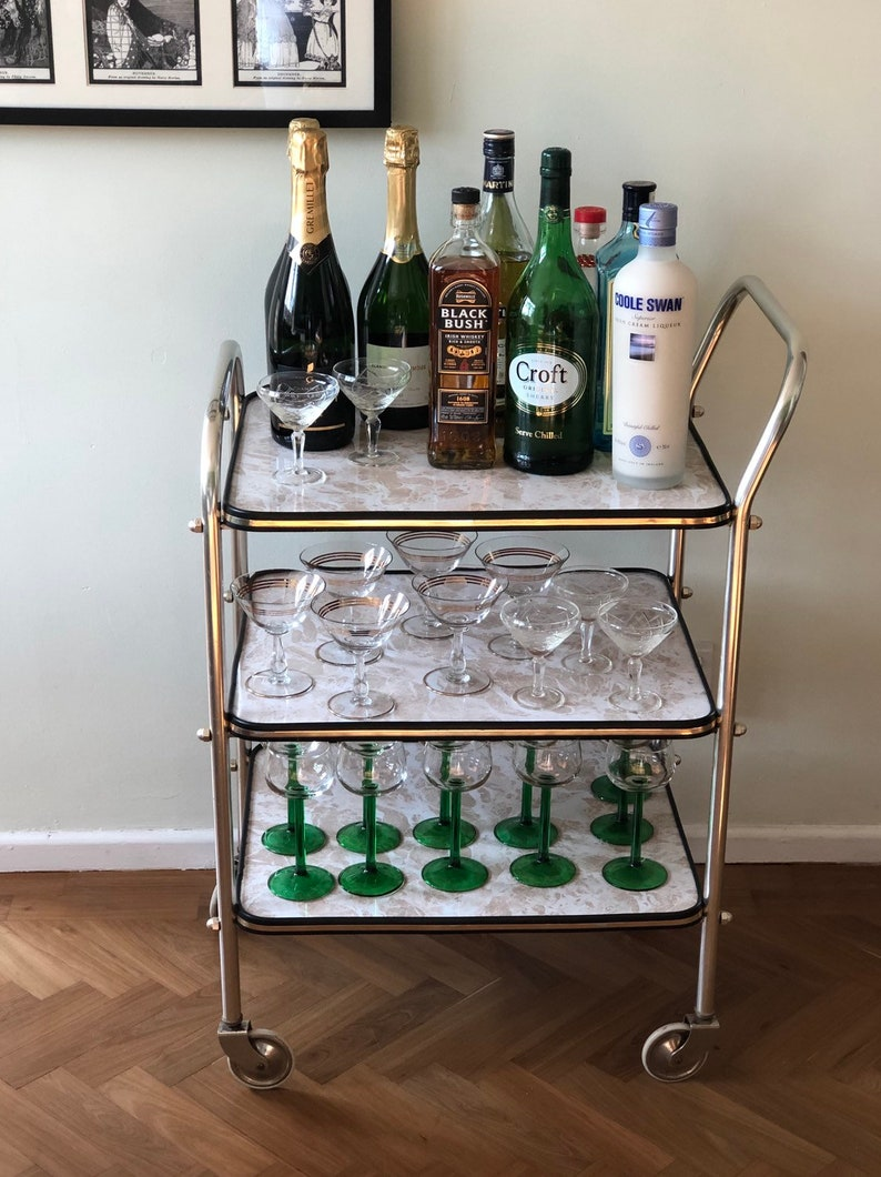 Bar Cart Mid Century Rolling Drinks Trolley Vintage Faux Etsy