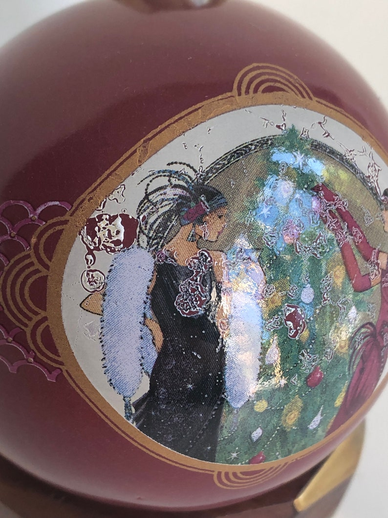 Vintage Christmas bauble tree ornament Art Deco style large bauble ceramic tree decoration dark red flapper girls 1920s style 1980s 06190150