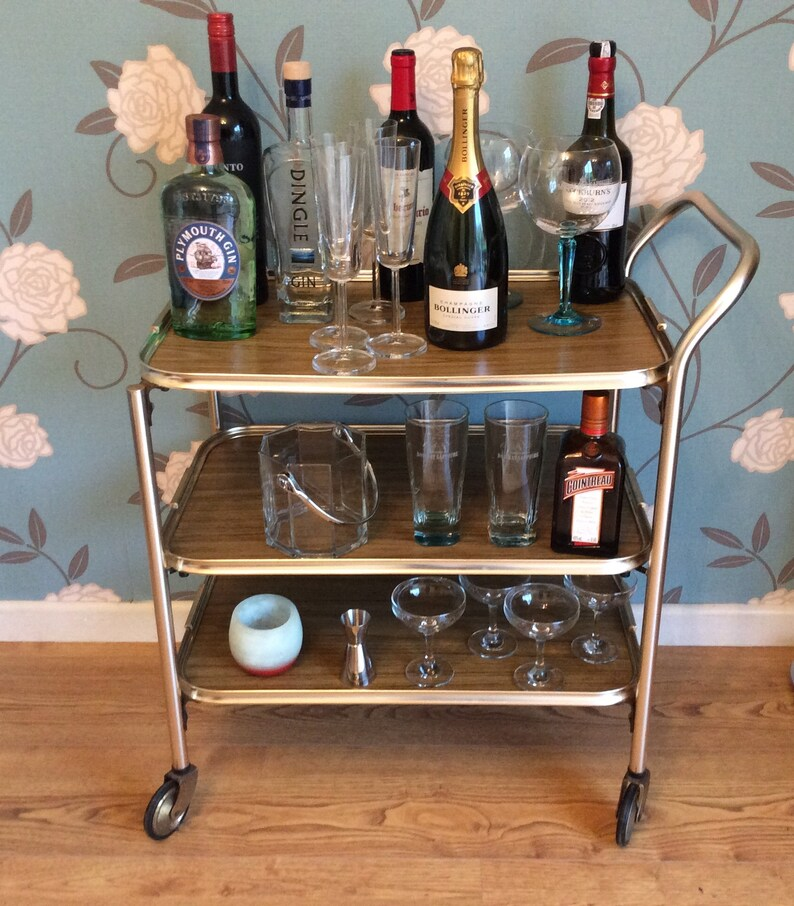 Vintage Bar Cart Rolling Drinks Trolley Mid Century Modern Etsy
