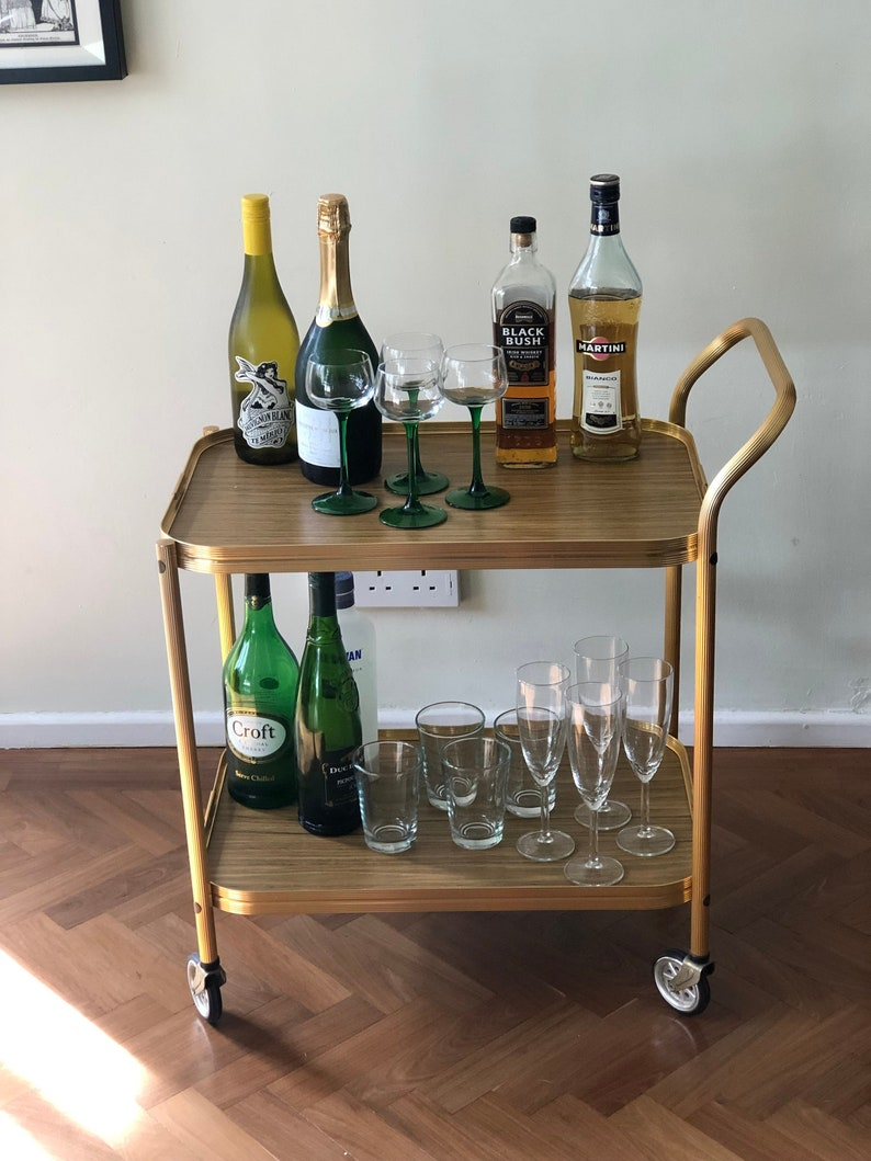 Vintage Bar Cart Drinks Trolley Small Mid Century Brass And Etsy