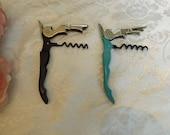Lot of 2 for choice TrueTap Corkscrews, wine bottle openers with knife. black , blue Gift idea