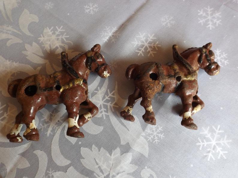 5 34 L.Brown farm house.Antique toy Restoration Sale Pair of Cast iron horses for your project,metal partmetal  4 34H