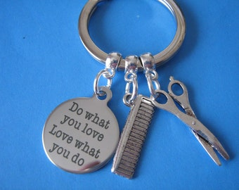 Barber Keyring Barbershop Gift for a Barber Scissors Comb Charms Hair Stylist Gift