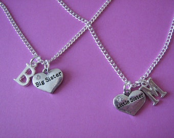 Two Sisters Necklaces Big Sister Little Sister Personalised Initial Charm