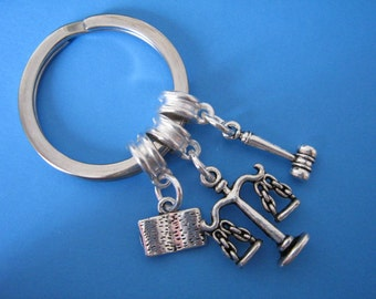Lawyers Keychain Law Student Keyring Scales of Justice Gavel Graduation Gift